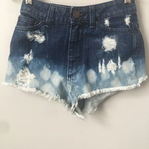 UO BDG High Rise Cheeky Distressed Jean Shorts